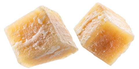 Wall Mural - Parmesan cheese cubes isolated on white background. Clipping path.