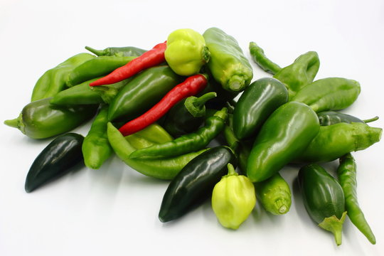 hot chili peppers on white background
