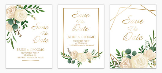 Set of Wedding invitation card design. Botanic composition for wedding and greeting card. White Flower paint by watercolor. Vintage style.