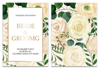 Set of Wedding invitation card design. Botanic composition for wedding and greeting card. Flower illustration paint by watercolor.