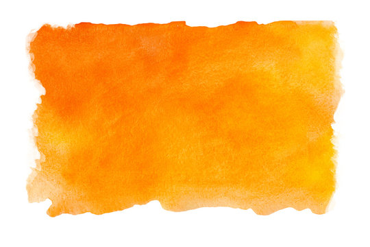 Abstract watercolor orange textured background on a white isolated background