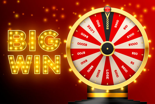 Casino spinning fortune wheel vector banner template