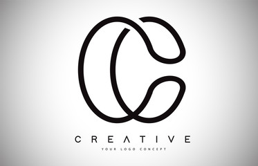 C Letter Logo Monogram Vector Design. Creative C Letter Icon with Black Lines