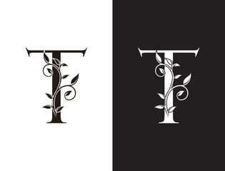 Luxury  T Letter Logo, vintage floral logo icon perfect for fashion, restaurant, cafe, hotel and many company.