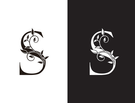 Luxury  S Letter Logo, vintage floral logo icon perfect for fashion, restaurant, cafe, hotel and many company.