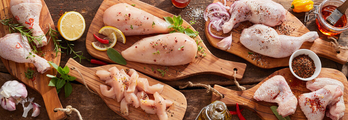 Foto op Plexiglas Kip Panorama banner of raw chicken portions