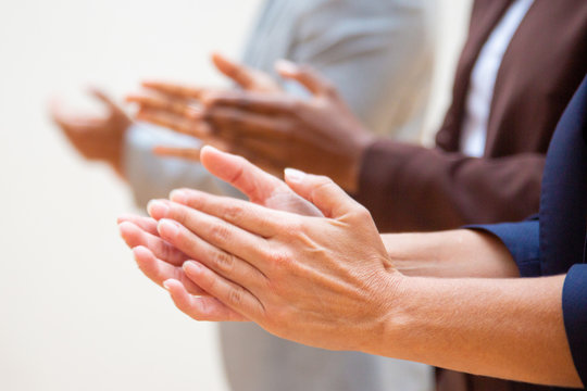 Business people applauding speaker during training. Closeup of clapping hands. Ovation, applause or seminar concept