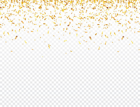 Christmas golden confetti. Falling shiny glitter in gold color. New year, birthday, valentines day design element. Holiday background.