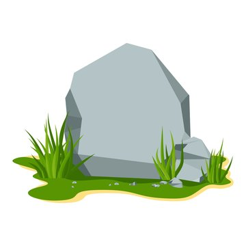 Large gray stone boulder lies on a summer lawn