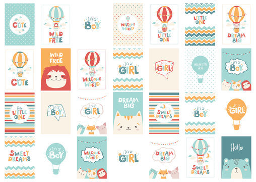 Big vector set of cute greeting cards for babies in a simple Scandinavian style and pastel palette. Ideal for children's rooms