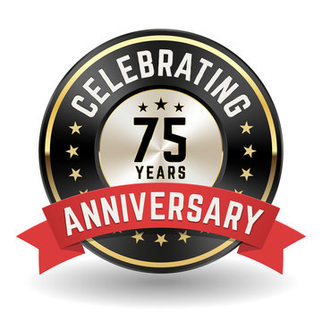 Celebrating 75 Years - Gold Anniversary Badge With Red Ribbon
