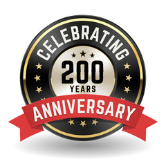 Celebrating 200 Years - Gold Anniversary Badge With Red Ribbon