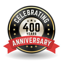 Celebrating 400 Years - Gold Anniversary Badge With Red Ribbon