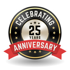 Celebrating 25 Years - Gold Anniversary Badge With Red Ribbon