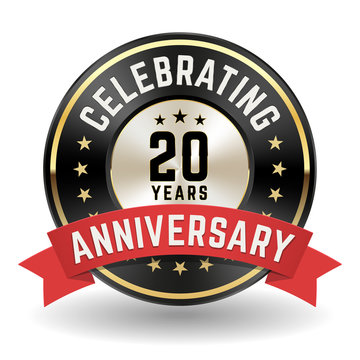 Celebrating 20 Years - Gold Anniversary Badge With Red Ribbon
