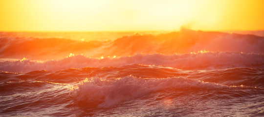 Photo sur Aluminium Jaune de seuffre Sunrise Wave. Golden sunrise over the sea and beach