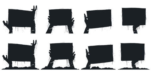 Zombie hands holding board black silhouette vector icons set isolated on a white background.