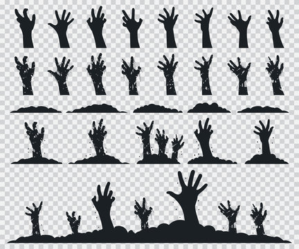 Zombie hands black silhouette vector icons set isolated on a transparent background.
