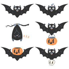 Cute bat vector cartoon character for Halloween isolated on white background.