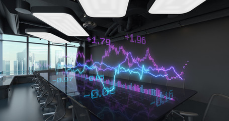 Animated Charts Diagrams of Financial Statistics report Growing on Table in Office Interior. Exchange trading Gambling concept 4K video
