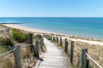 Gateway to the beach scenic dunes panorama on a bright summer day in Isle de Noirmoutier in Vendée France