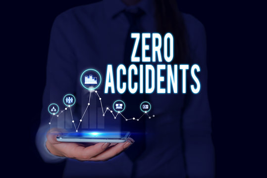 Text sign showing Zero Accidents. Business photo text important strategy for preventing workplace accidents Woman wear formal work suit presenting presentation using smart device