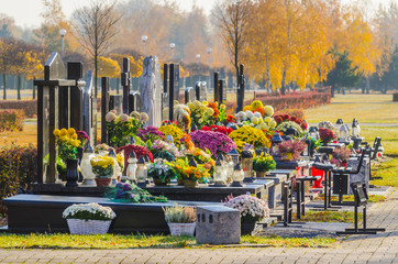 All Saints' Day at the southern municipal cemetery in Antoninow, Poland