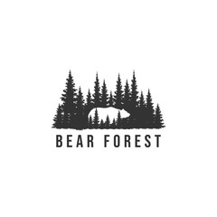 SILHOUETTE BEAR AND FOREST VECTOR ILLUSTRATION