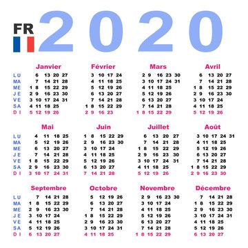 Calendar 2020 in French. Horizontal. Week starts Monday