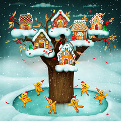 Fantasy winter holiday greeting , conceptual art, for greeting card or poster Gingerbread House and Gingerbread Men for Christmas or New Year