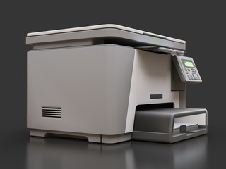 Laser mfp on the grey background. 3d illustration.