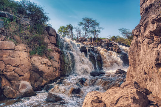 Waterfall in Awash National Park. Waterfalls in Awash wildlife reserve in south of Ethiopia. Wilderness scene, Africa