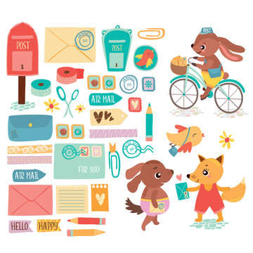 Vector postal set with cute animals