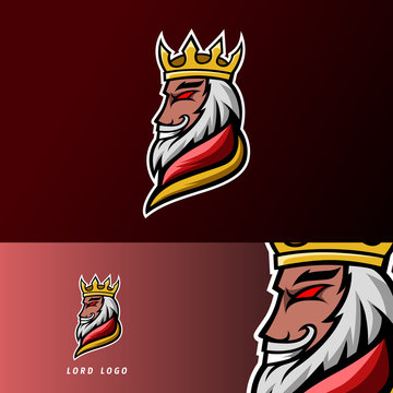 King lord gaming sport esport logo design template with armor, crown, beard and thick mustache