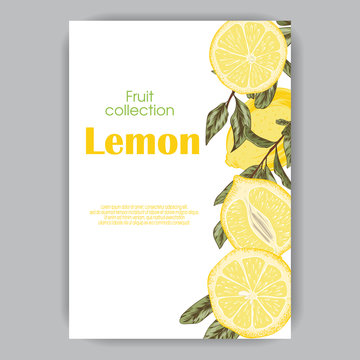 wedding invitation card with hand drawn lemons