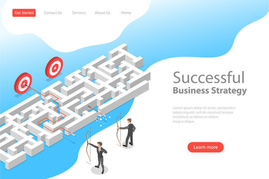 Isometric flat vector landing page template of business advantage, finding solution, marketing achievement and strategy.