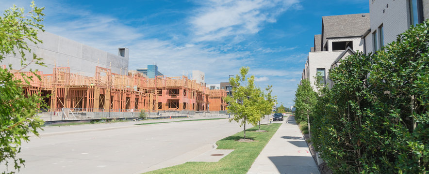 Panoramic mixed community brand new residential house and apartment under construction in Dallas