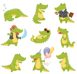 Set of cute crocodiles. Vector illustration on a white background.