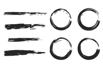Vector black circle and grunge brushes set isolated on a white background.