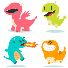 Cute dragons vector cartoon characters set isolated on a white background.