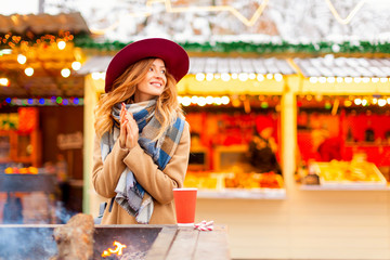 happy autumn  girl in a hat. portrait young woman in the city. outside - Image