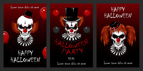 Set of vector illustrations with clowns for Halloween. Evil clowns. Design elements for cards, flyers, banners, invitations, posters, posters.