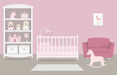 Kid's room for a newborn baby. Interior bedroom for a baby girl in a pink color. There is a cot, a wardrobe with toys, armchair, a rocking horse and other things in the picture. Vector illustration