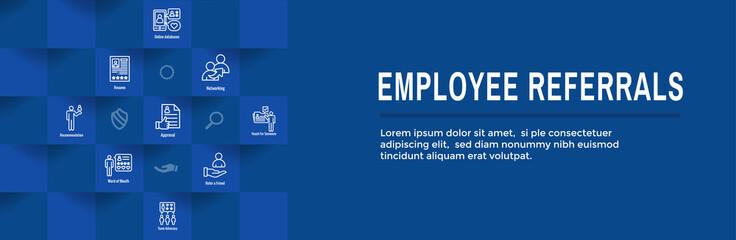 Employee Referrals Icon Set with Web Header Banner