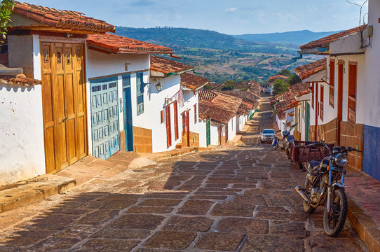 Street view in Barichara, Colombia