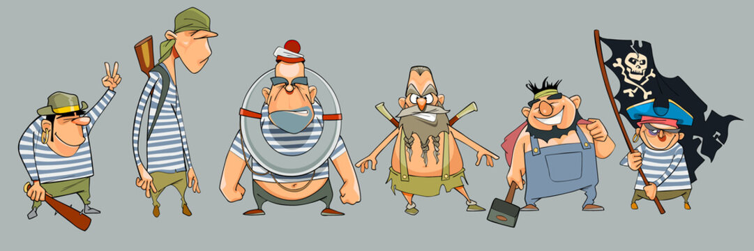 cartoon men pirates in a variety of clothes and with different emotions