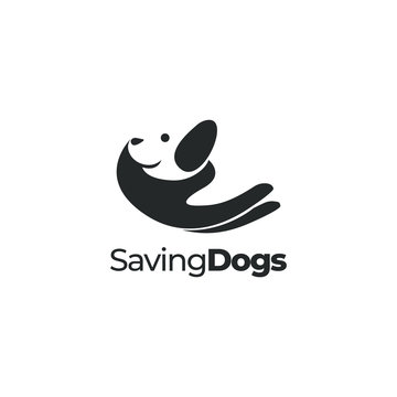 Dog care, pet care, animal care logo vector, with negative space hand holding dog