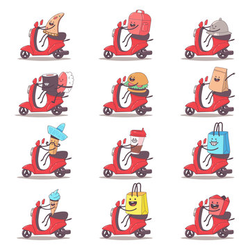 Food delivery set. Cute courier characters on the moped. Vector cartoon illustration isolated on background.