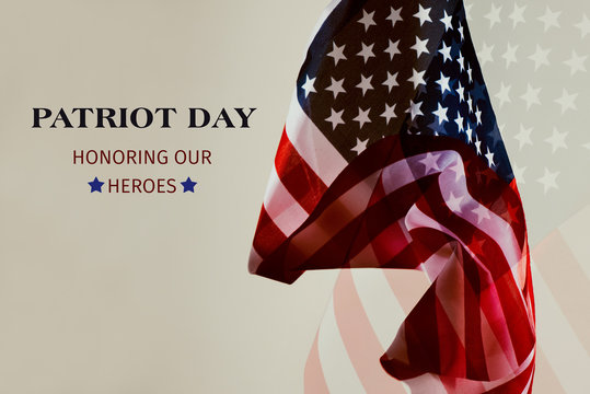 text patriot day honoring our heroes.
