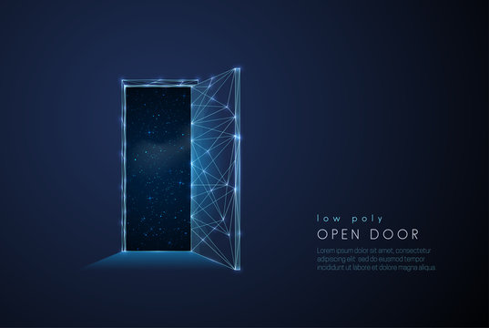 Abstract open door to universe. Low poly style design